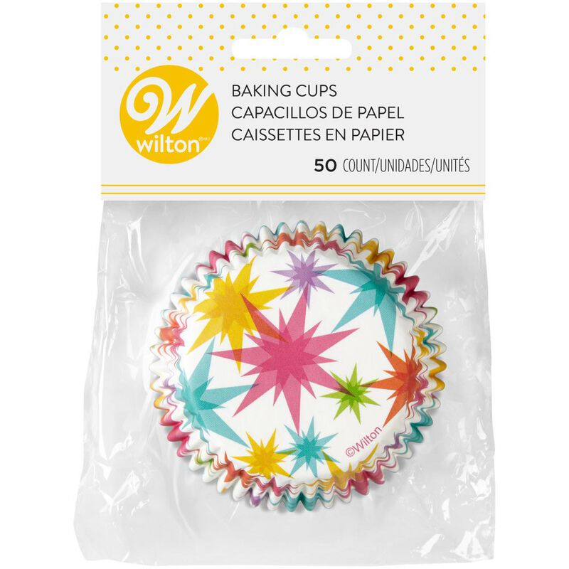 Multicolor Starburst Cupcake Liners, 50-Count image number 1