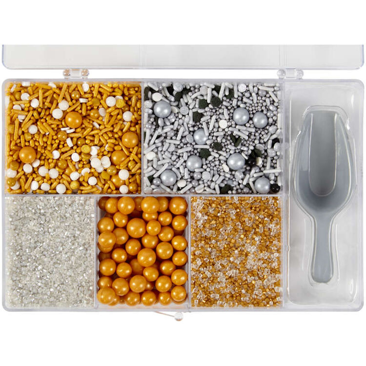 Silver and Gold Sprinkles in Tackle Box Top View