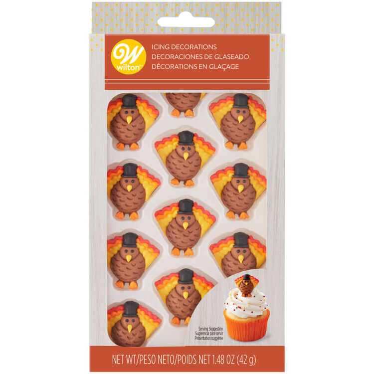 Turkey Icing Decorations, 12-Count