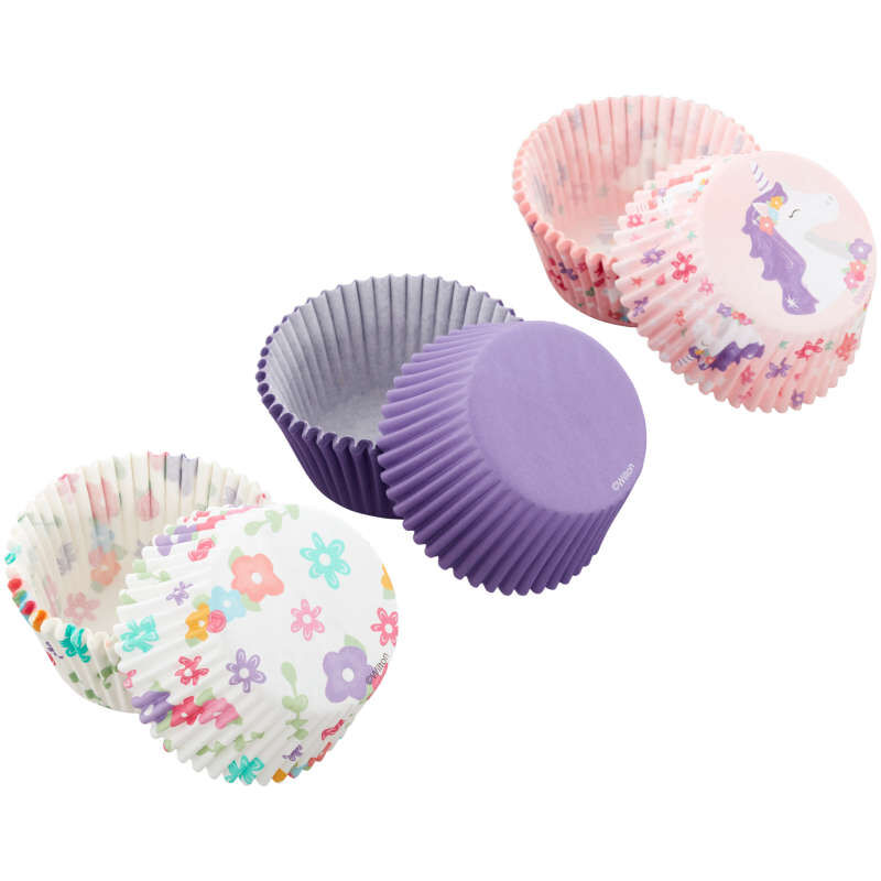 Unicorn, Flower Print and Solid Purple Baking Cups, 75-Count image number 1