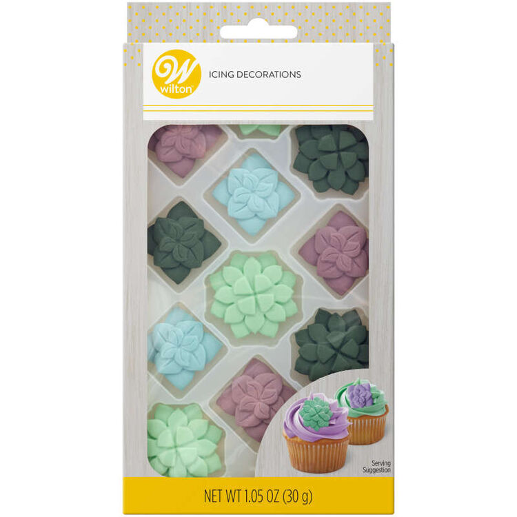 Green, Blue and Purple Succulent Royal Icing Decorations, 12-Count