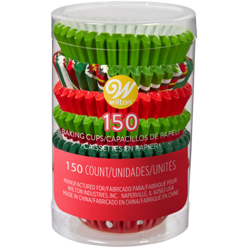 Holiday Red and Green Mini Cupcake Liners, 150-Count image number 1