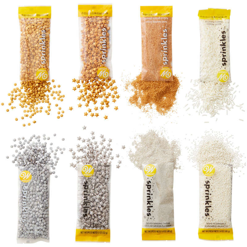 Gold, Silver and White Sprinkles Cupcake Decorating Set, 8-Piece image number 3