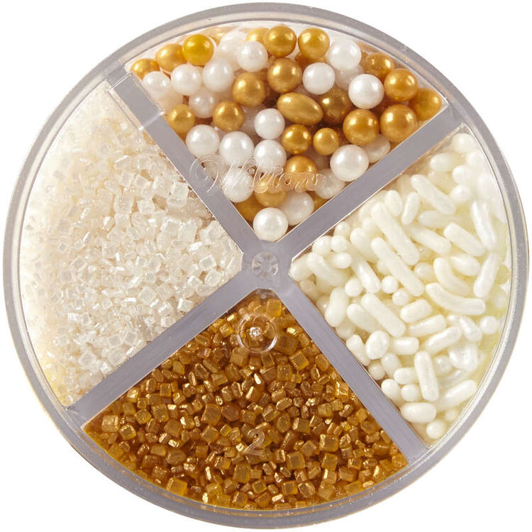 4-Cell Pearlized Gold Sprinkles Mix, 3.8 oz.
