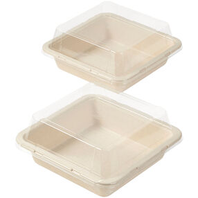 Disposable 8-Inch Square Baking Pans with Lids, 2-Count
