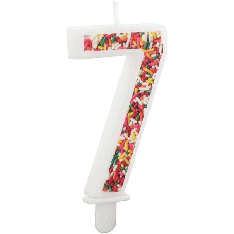 Sprinkle Pattern Number 7 Birthday Candle, 3-Inch image number 2