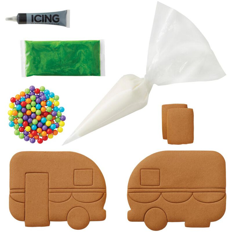 Build it Yourself Outdoor Adventures Ahead Gingerbread Camper Decorating Kit image number 2