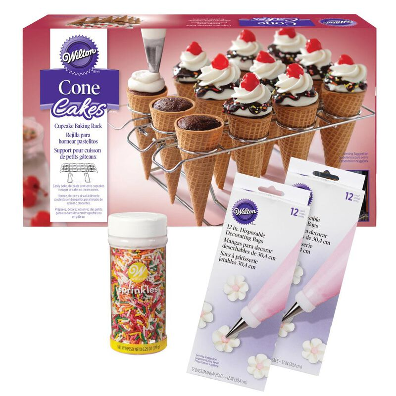 Ice Cream Cone Cupcakes Decorating Kit, 26-Piece - Decorating Bags, Sprinkles, Cupcake Cone Baking Rack image number 0