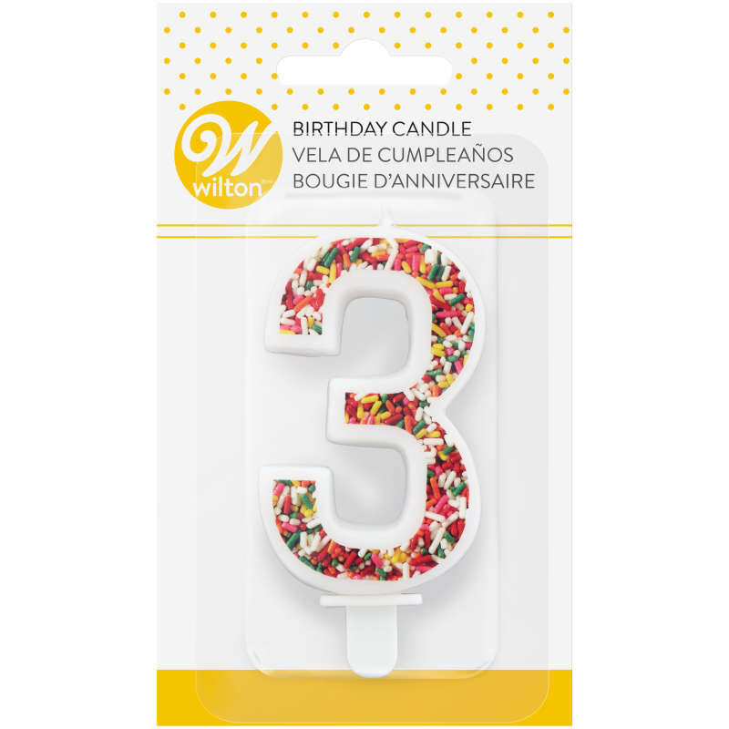 Sprinkle Pattern Number 3 Birthday Candle, 3-Inch image number 3