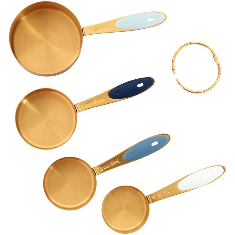 Navy and Gold Nesting Measuring Cups with Snap-On Ring, 4-Count image number 1