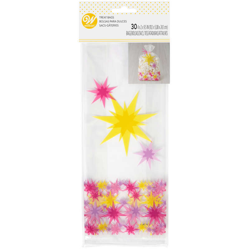Pink and Yellow Starburst Treat Bags, 30-Count image number 1