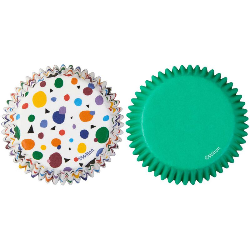 Geometric Print and Solid Green Mini Cupcake Liners, 100-Count image number 0