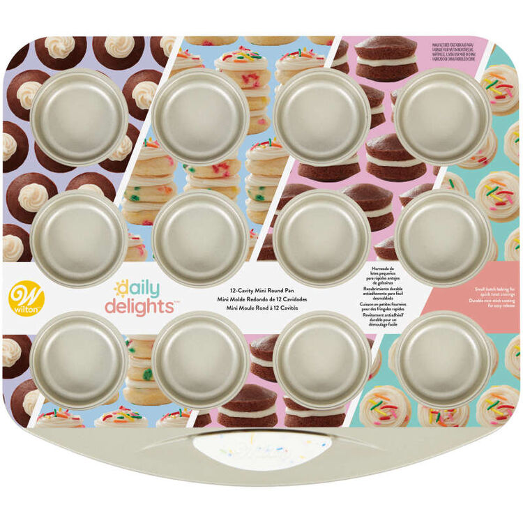 Daily Delights Non-Stick Mini Round Toaster Oven Pan, 12-Cavity