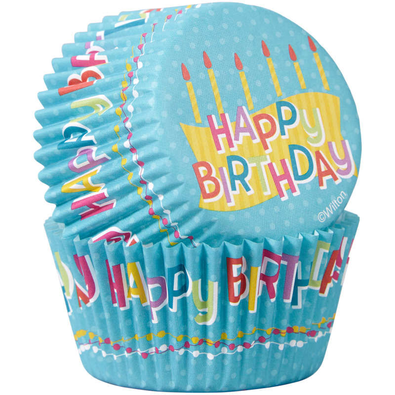 Happy Birthday Cupcake Liners, 50-Count image number 0