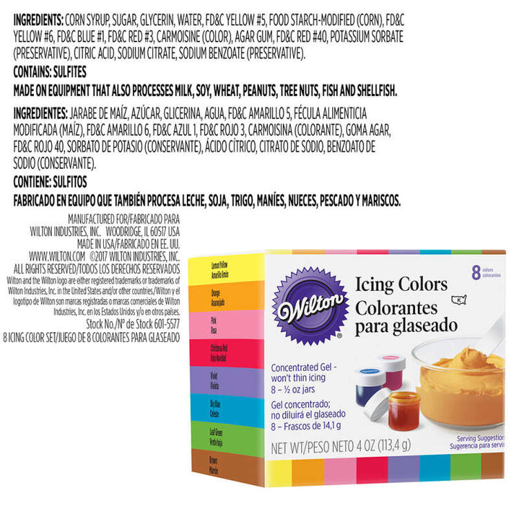 Icing Colors Ingredients Statement
