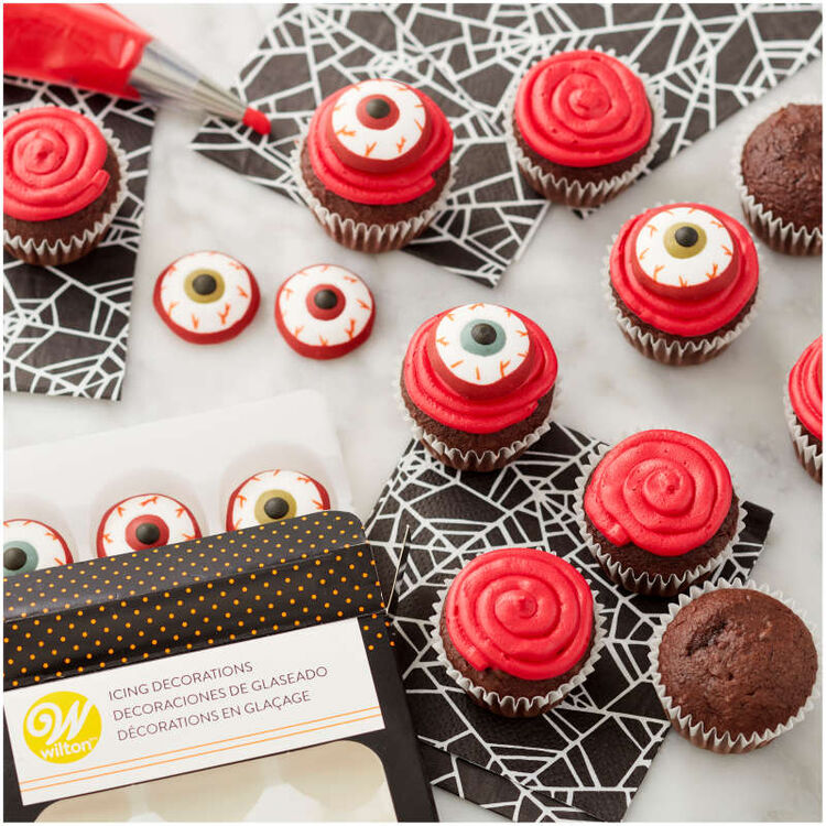 Bloody Eyeball Icing Decorations, 12-Count