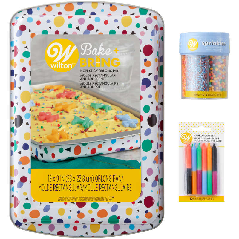 Triangle Print Birthday Cake Pan and Decorating Set, 3-Piece image number 1