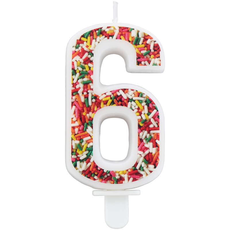 Sprinkle Pattern Number 6 Birthday Candle, 3-Inch image number 0
