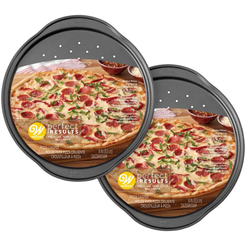 Perfect Results Non-Stick 14-Inch Pizza Pans with Holes, Multipack Set of 2 image number 1