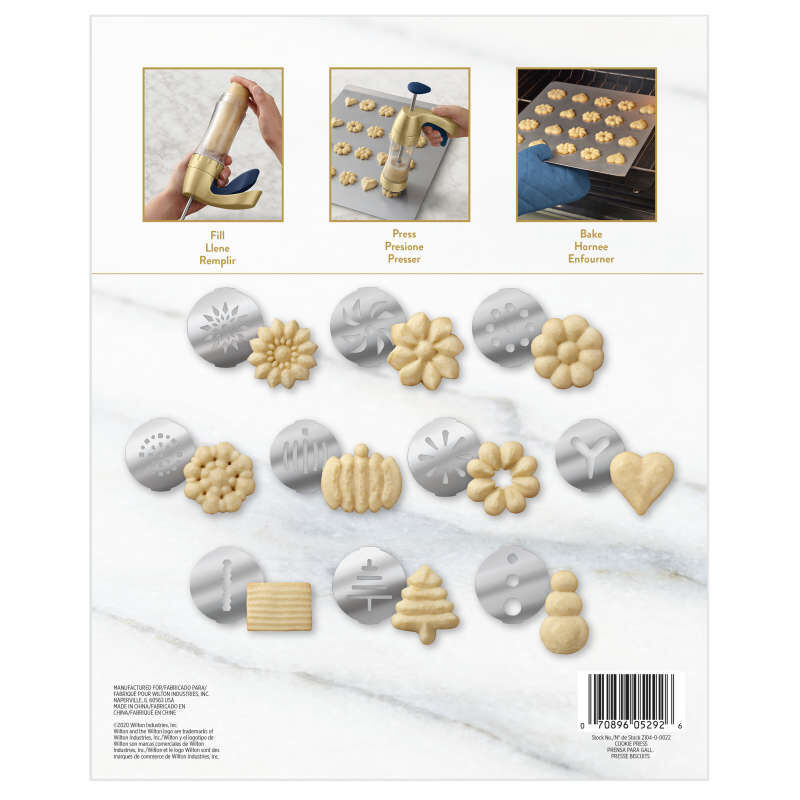 Blue and Gold Cookie Press Set, 11-Piece image number 3