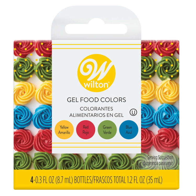 Red, Yellow, Green and Blue Gel Food Color Set, 4-Count