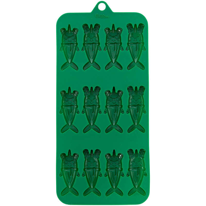 Christmas Narwhals Silicone Candy Mold, 12-Cavity image number 0