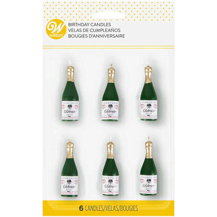 Champagne Bottle Candles, 6-Count