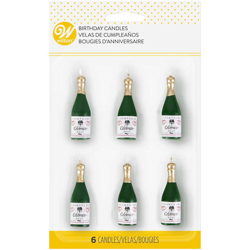 Champagne Bottle Candles, 6-Count image number 0
