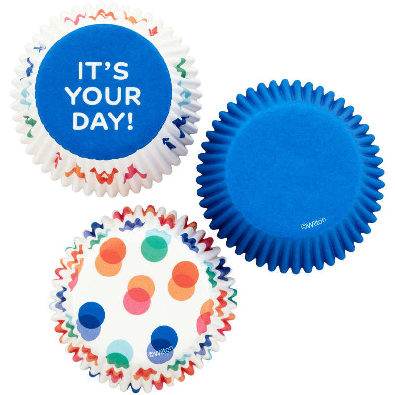 Blue, Polka Dot and It's Your Day Baking Cups, 75-Count image number 0