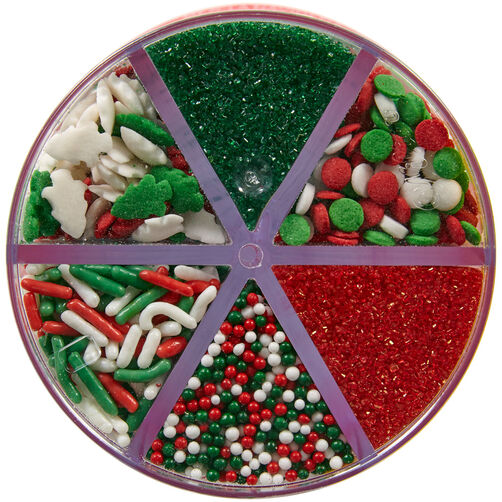 Red, Green and White Holiday 6-Cell Sprinkles Mix