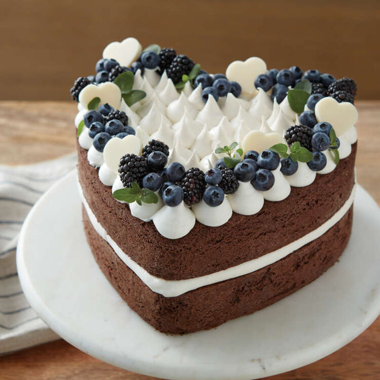 Layered Heart Cake with Berries