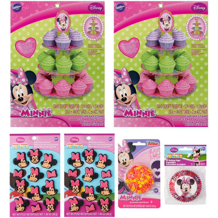Minnie Mouse Cupcake Decorating Kit Components in Packaging