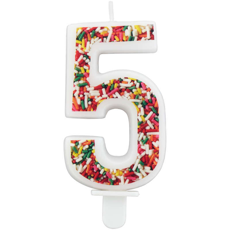 Sprinkle Pattern Number 5 Birthday Candle, 3-Inch image number 0