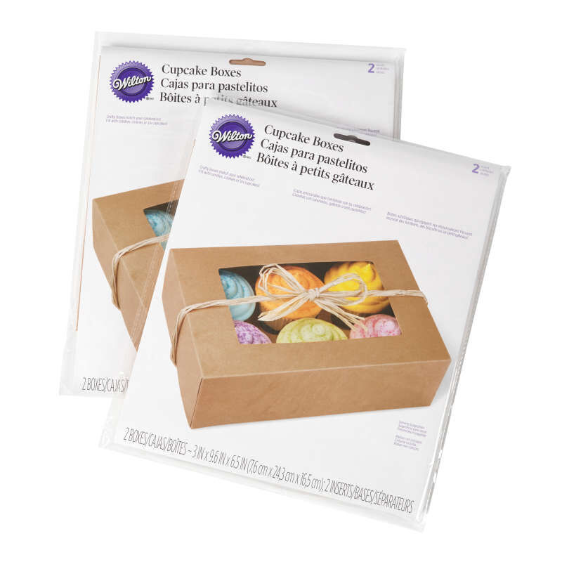 6-Cavity Kraft Cupcake Gift Boxes, Multipack of 2 image number 1