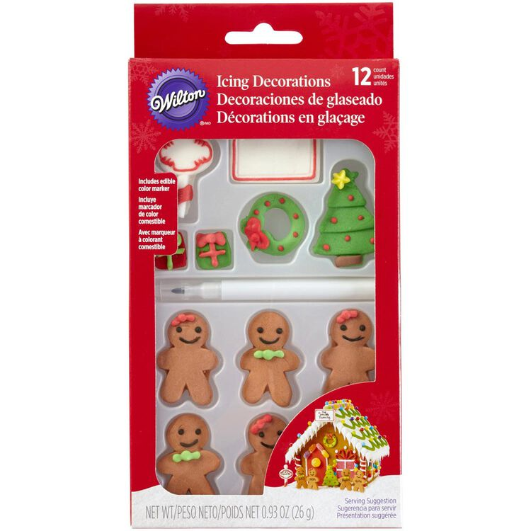 Customizable Gingerbread House Icing Decorations, 12-Count