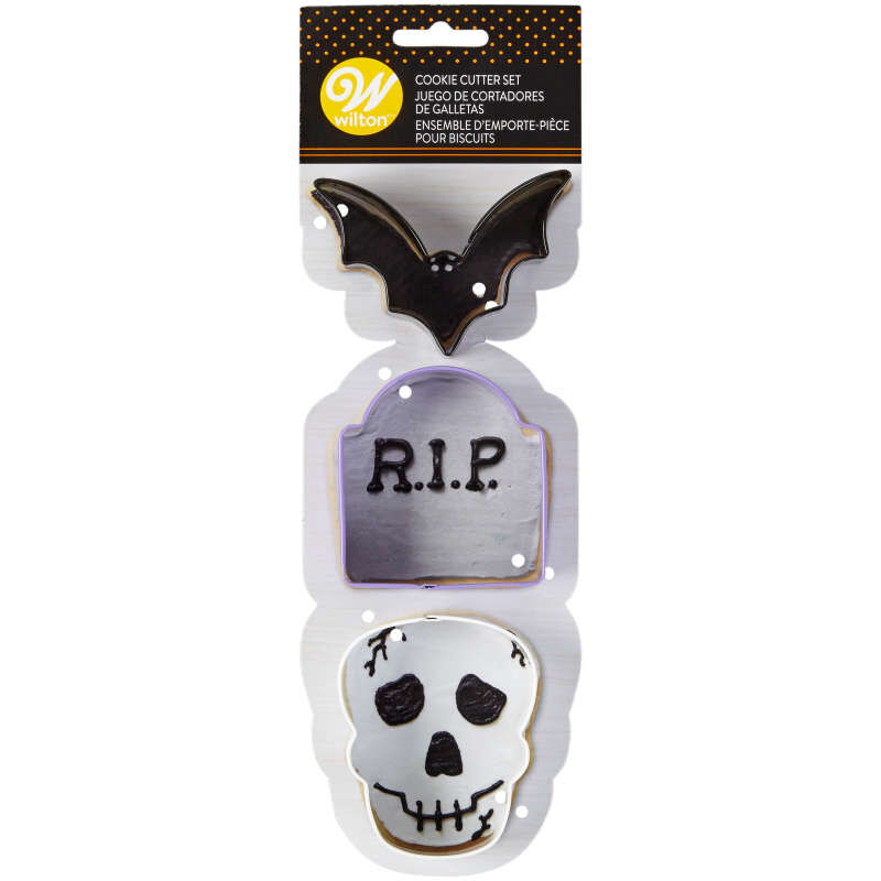Bat, Tombstone and Skull Cookie Cutter Set, 3-Piece image number 1