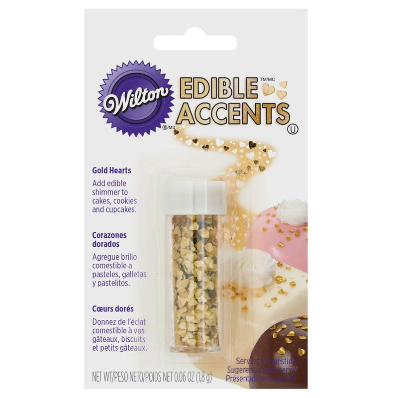 Gold Heart Edible Accents, 0.06 oz. - Cake Decorating Supplies image number 1