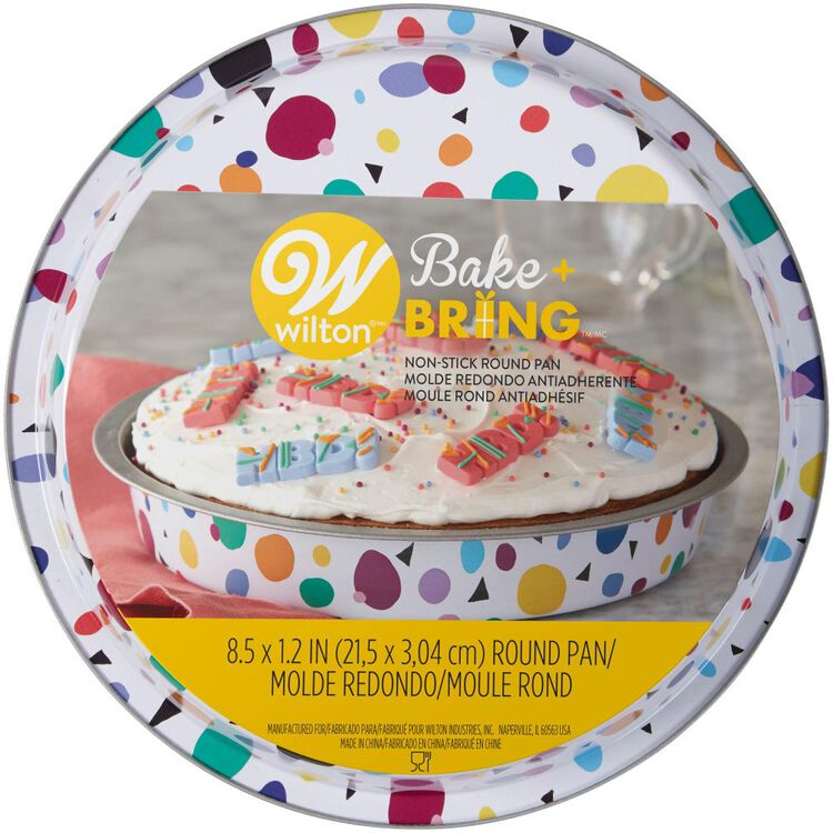 Bake and Bring Geometric Print Non-Stick 8-Inch Round Cake Pan