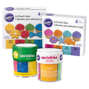 Gel Food Coloring and Sprinkles Decorating Kit, 10-Piece