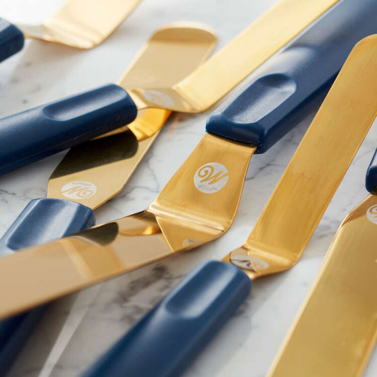 Navy Blue and Gold Icing Spatula Set, 3-Piece