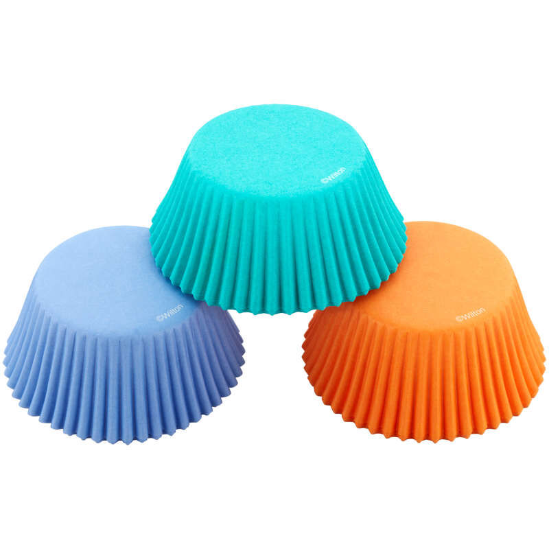 Teal, Orange and Purple Standard Baking Cups, 75-Count image number 0