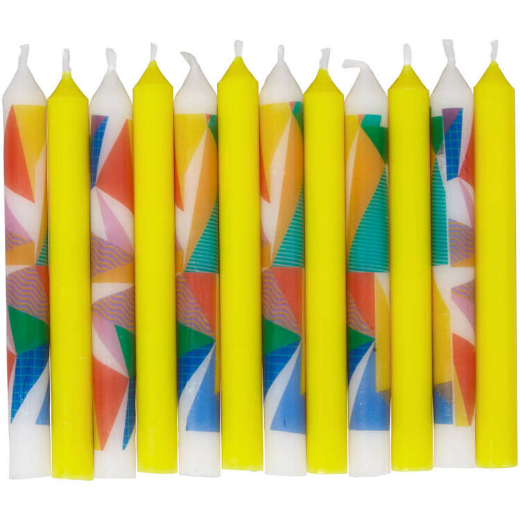 Yellow and Color Block Birthday Candles Out of Packaging