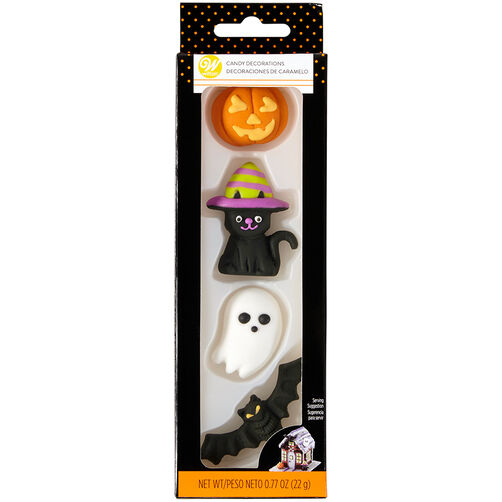 Bat, Cat, Pumpkin and Ghost Candy Decorations, 4-Count