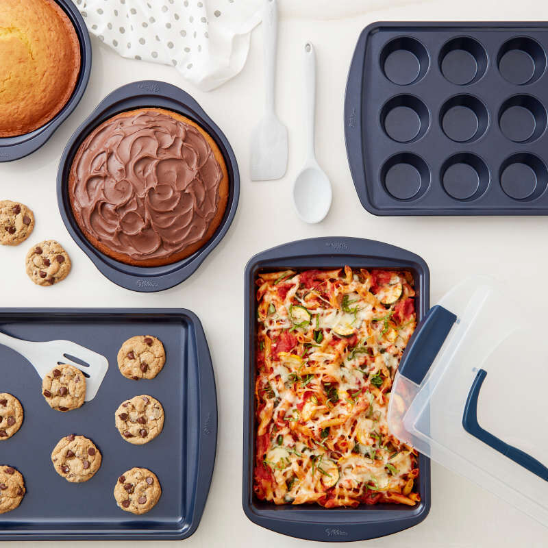 Diamond-Infused Non-Stick Navy Blue Baking Set, 9-Piece image number 4