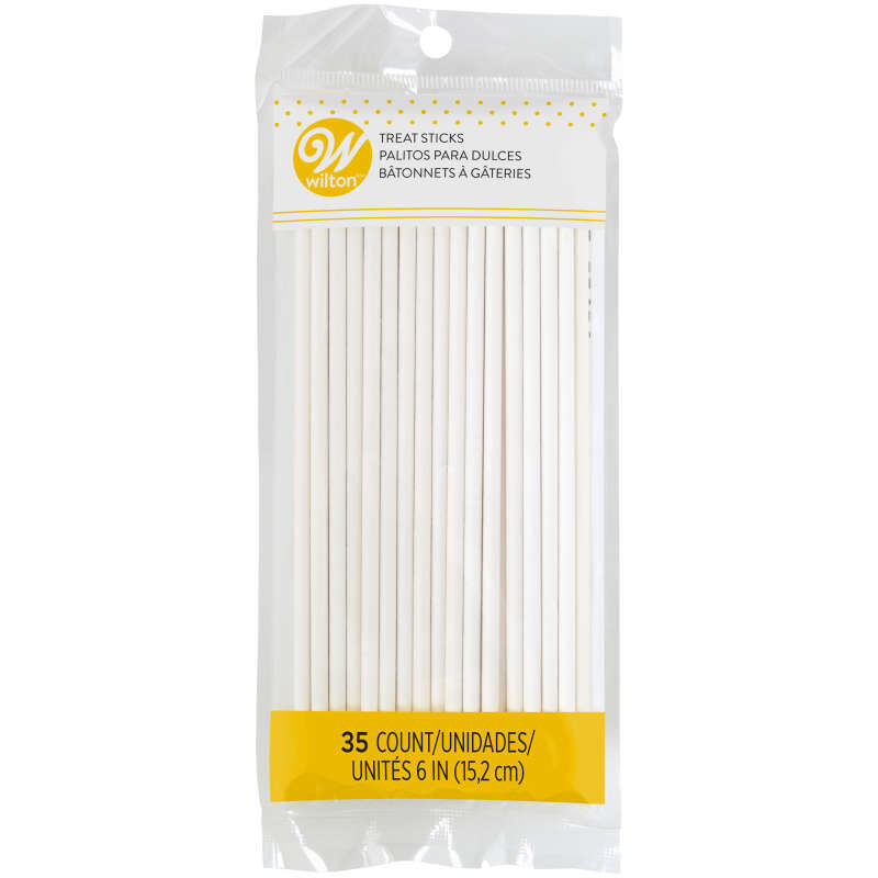 White 6-Inch Lollipop Sticks, 35-Count Pack image number 0