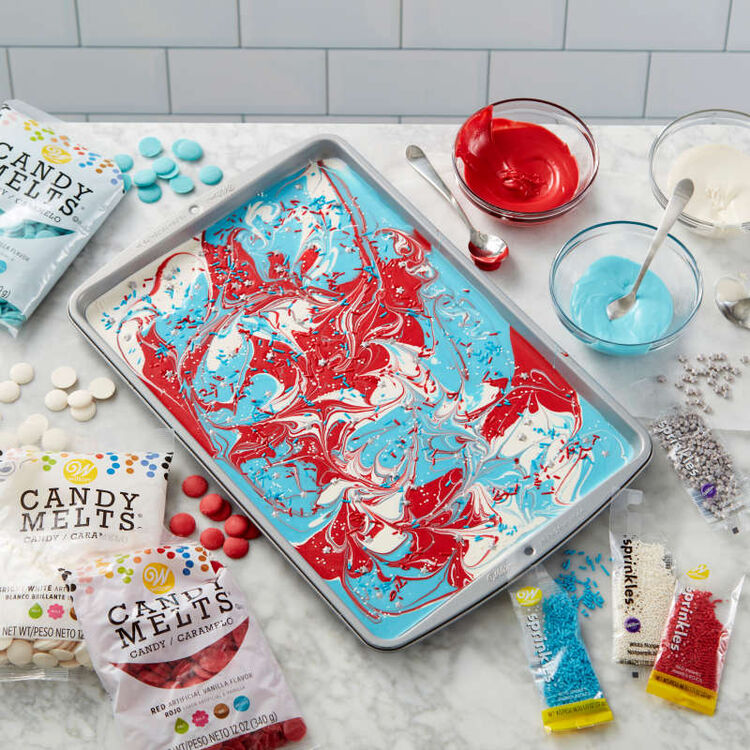 Red, white, and blue swirled Candy Melts candy bark