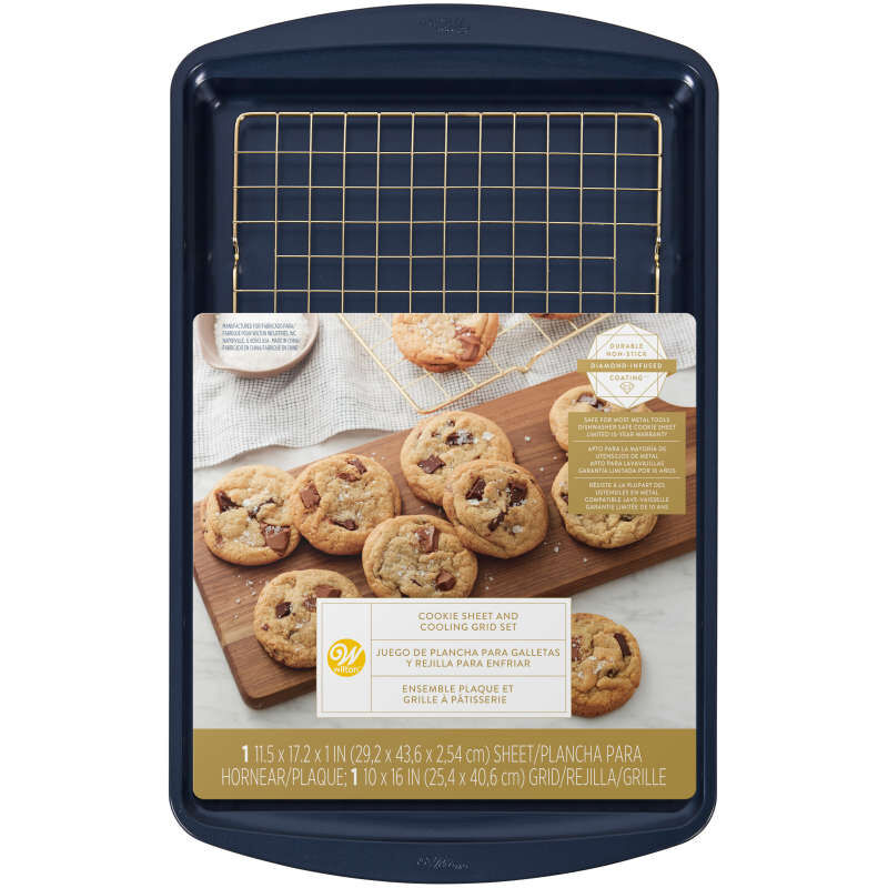Diamond-Infused Non-Stick Large Navy Blue Cookie Sheet with Gold Cooling Grid Set image number 1