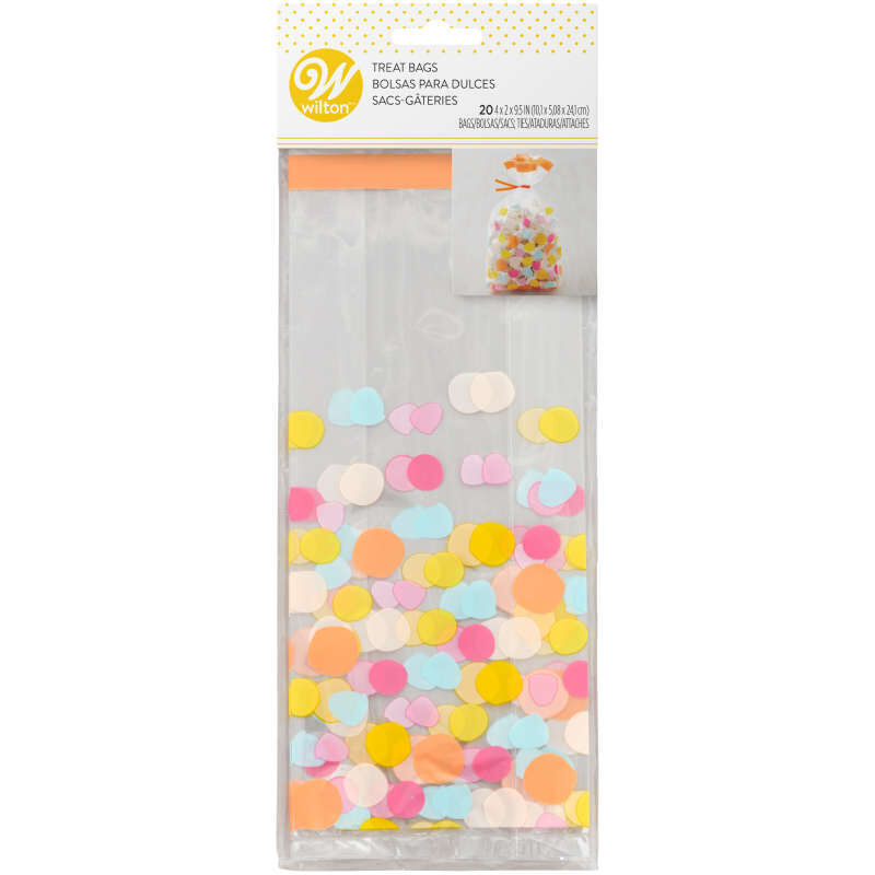 Yellow, Blue, Pink and Orange Polka Dot Treat Bags and Ties, 20-Count image number 2