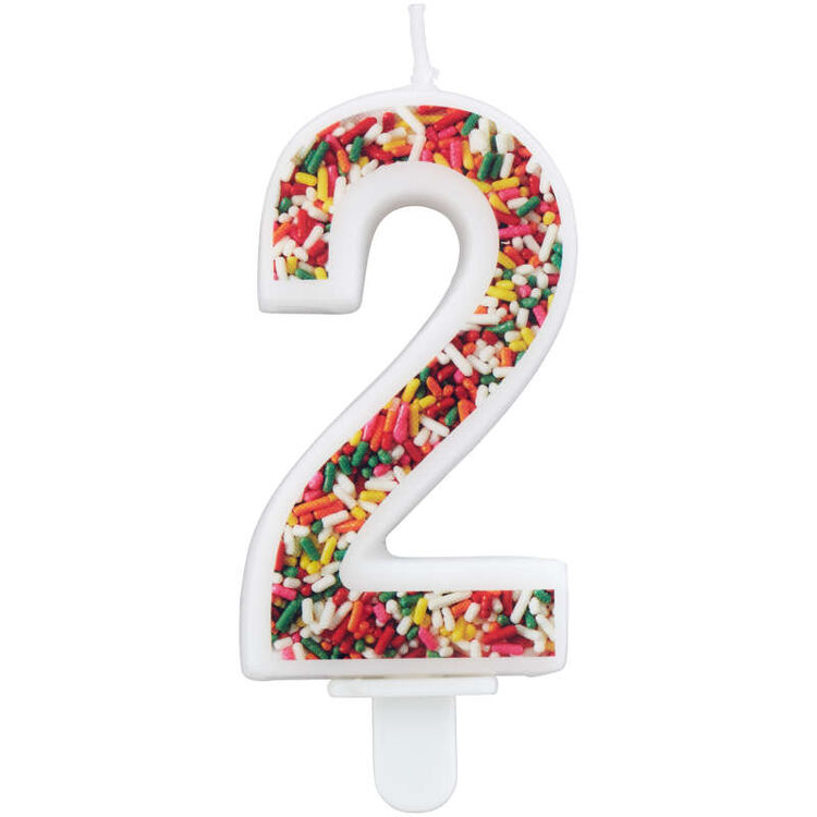 Sprinkle Pattern Number 2 Birthday Candle, 3-Inch