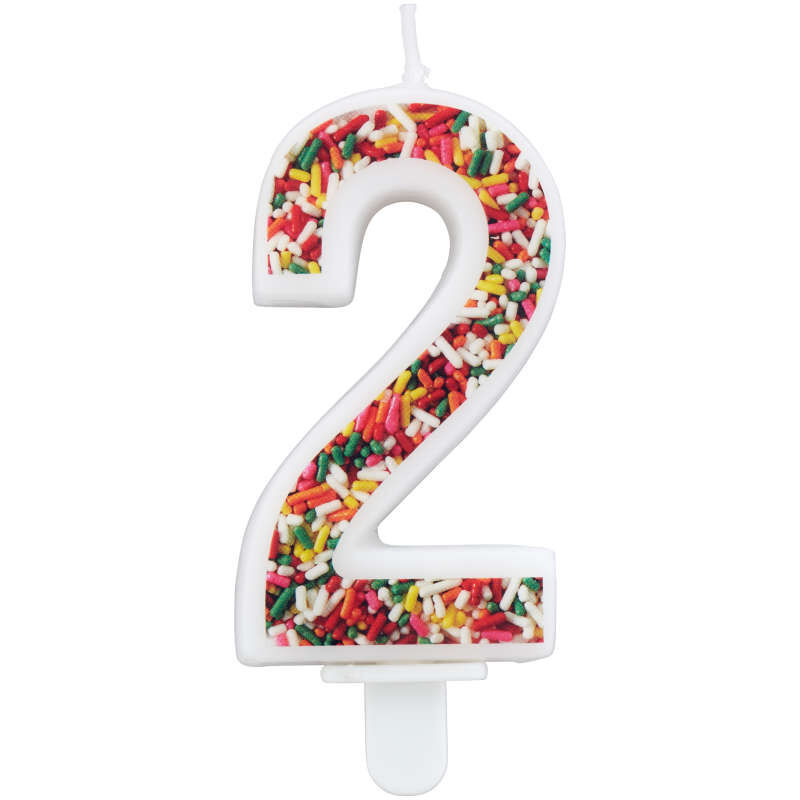 Sprinkle Pattern Number 2 Birthday Candle, 3-Inch image number 0